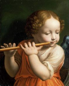 Child Angel playing a flute by Bernardino Luini