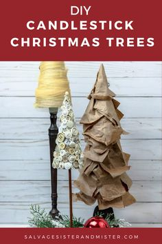 Simple Christmas craft using materials you already have on hand! Reuse and repurpose items such as packing paper, buttons, tulle, etc to create these fun and inexpensive holiday decorations! Find candlesticks at the dollar store or thrift store to complete this easy Christmas project for adults or kids. Keep Christmas decor simple! Cone Christmas Trees, Holiday Tree, Holiday Crafts, Christmas Wreaths, Christmas Ornaments, Holiday Ideas, Christmas Wrapping, Simple Christmas, Kids Christmas