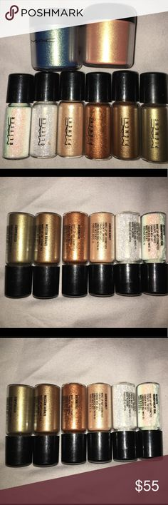 9 Mac Cosmetics pigments and glitter 9 slightly used Mac pigments and glitter. The names of the pigamnets are Melo, Steel Blue, Rushmetal, Jardin Aires, Copperized, Museum Bronze. And the names of the glitter are Reflects Transparent Teal and Reflects Gold. MAC Cosmetics Makeup Eyeshadow