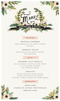 Our menu stationary: Rifle Paper Co.-see if they can do a cocktail menu, cigar sign and food and dessert labels to match.