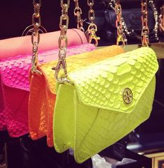 Tory Burch clutches Neon for days Handbag Accessories, Fashion Accessories, Tory Burch Bag, Purses And Handbags, My Style, Leather, Ear Piercing, Southern Marsh, Southern Tide