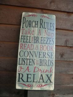 wood signs with sayings | Porch Rules, wood sign, outside decor, distressed sign, primitive ...