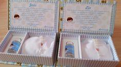 FABRICAÇÃO PRÓPRIA  Confeccionamos caixas no tamanho que você precisar, solicite um orçamento!    Caixinha convite para padrinhos de batizado revestida em tecido e papel.  Inclui a almofadinha, o tercinho, um vidrinho de água benta personalizado, o adesivo da tampa com o nome ou inicial e a mensa...