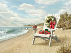 Artwork by Alan Giana Tropical Christmas, Beach Christmas, Coastal Christmas, Christmas Is Coming, Christmas Art, Christmas And New Year, White Christmas, Vintage Christmas, Christmas Decorations