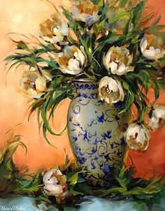 Artists Of Texas Contemporary Paintings and Art - White Tulips on Teal by Floral Artist Nancy Medina