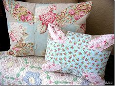 A pair of union jack pillows I made using favorite florals.