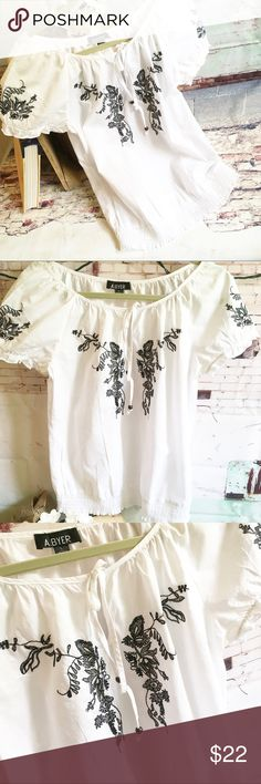 """A BYER White Peasant/Boho Top, Size Large A BYER White Peasant/Boho Top, Size Large 100% cotton white top with navy trim.  Chest measures 18.5"""" and top is approx 23"""" long.  Hardly worn. EUC A Byer Tops"""