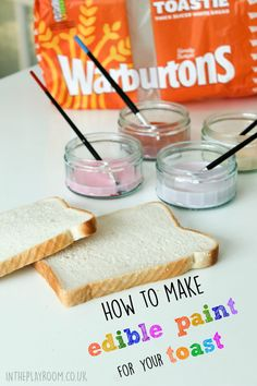 How to make edible paint for your toast. This diy paint recipe is so quick and easy and the painted toast makes a fun snack for kids