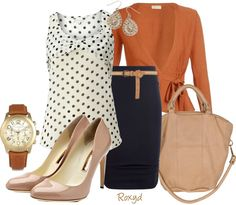 I really like the Pumpkin & navy color contrasts with a hint of fun polka dots.with jeans!