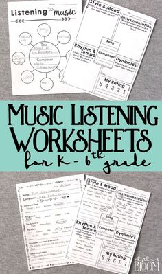 Music Listening Worksheets, Generic musing listening for grades Kindergarten through grade. These are awesome for music class and great for a sub! Music Lessons For Kids, Music Lesson Plans, Music For Kids, Elementary Music Lessons, Art Lessons, Kindergarten Music, Kindergarten Worksheets, Middle School Music, Music Worksheets