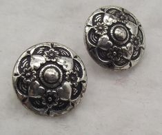 STATEMENT BUTTONS pair x 2 UNUSUAL rare buttons METAL RETRO SHABBY CHIC silver