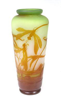 Emilé Gallé c. Vaguely art nouveau and totally gorgeous. Antique Glass, Antique Art, Vintage Art, Vases, Jugendstil Design, Dragonfly Art, Art Nouveau Design, Glass Ceramic, Arts And Crafts Movement