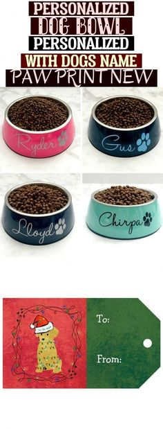Personalized Dog Bowl, Personalized with Dogs Name & Paw Print, New Puppy Gift, Personalized Dog Gif Personalized Dog Bowl Personalized With Dogs Name Paw Print New Puppy Gifts, New Puppy, Dog Names, Dog Bowls, Puppies, Dogs, Cubs, Pet Dogs, Doggies
