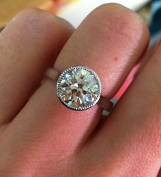 Old European cut diamond in platinum bezel ring