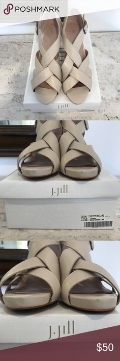 """J Jill Woven Strap Heel Soapstone colored heel features leather upper, rubberized sole, and 3"""" heel. Only worn once. Small scuffs on front of shoes (as noted in pictures). Otherwise perfect condition and come in original box! J. Jill Shoes Heels"""