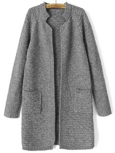 Grey Stand Collar Long Sleeve Knit Cardigan -SheIn(Sheinside) Mobile Site