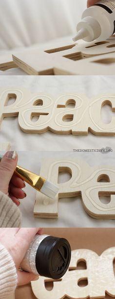 The Domestic Diva » Easy Holiday Weekend Craft for the Mantle: DIY Glittering Cutout Wood Words Holiday Decor