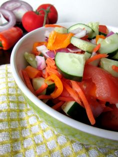Perfect Summer Salad - avocado, cucumber, tomato, carrots, peppers, red onion, lemons, Italian seasoning