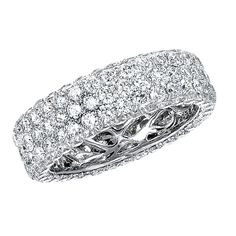 14k White Gold Three Row Pave Diamond Eternity Band - NK13381-W  bovadiamonds.com  214.744.7668  contact: Erica