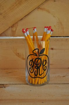 Personalized Apple Monogram Pencil Holder for by RitzyRagsForKids
