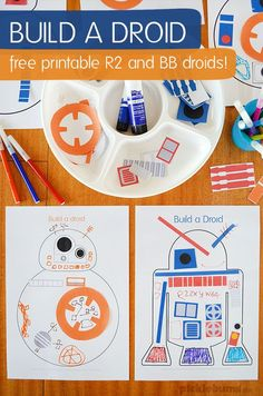 a Droid - Star Wars Party Printable Build a droid! Free Star Wars party printableBuild a droid! Star Wars Droides, Theme Star Wars, Star Wars Girls, Lego Star Wars, Party Activities, Activities For Kids, Star Wars Party Games, Star Wars Birthday Games, Star Wars Party