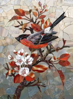 Mosaic picture of a beautiful bid and cherry blossoms Mosaic Artwork, Mosaic Wall Art, Mosaic Diy, Mosaic Garden, Mosaic Crafts, Mosaic Projects, Tile Art, Mosaic Glass, Glass Art