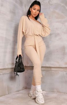 Stone Ribbed Off The Shoulder Loungewear Jumpsuit | Loungewear | Femme Luxe UK | Femme Luxe UK 2021 Fluffy Sliders, Loungewear Jumpsuit, Huda Beauty, Jumpsuits For Women, Black Denim, Off The Shoulder, Lounge Wear, Stone, How To Wear