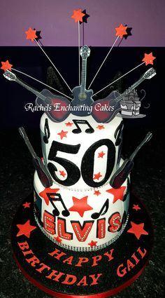 Two Tiered Elvis Presley Themed Birthday Cake by Rachels Enchanting Cakes , Sheffield, www.rachelsenchantingcakes.com