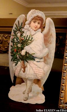 Beautiful and Rare Victorian Snow Angel, advertising Gunther's Confectionary, Chicago.