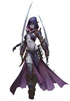 Tooth Wu | assassin, female, gaming character design | fantasy art, woman