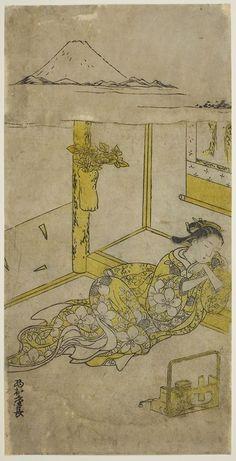 Nishimura Shigenaga, Sleeping Young Woman with Mt. Fuji Above, / Young Woman Dreaming of Mt. Fuji, Japan, c. 1740s - via Stephen Ellcock Mount Fuji, Historical Maps, Vintage Walls, Young Women, Vintage World Maps, Wall Decor, Sleep, Japan, Art Prints