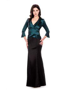 Decode 183781 Shawl Collar 3/4 Sleeve Surplice Embellished Side Bodycon Shantung Dress