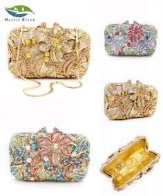[Visit to Buy] Women Luxury Flower Crystal Evening Bags Lady Wedding Clutches Small Purse Party Bags Mini Gold Silver Black #Advertisement