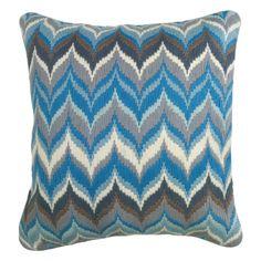 Jonathan Adler Flame Blue/Grey Bargello Pillow @Zinc_Door