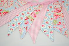 Shabby Chic fabric bunting {we can dobthis ELO!} {My fave decoration at your birthday party! Shabby Chic Bunting, Shabby Chic Fabric, Shabby Chic Style, Girl Nursery, Girls Bedroom, Bedroom Ideas, Fabric Bunting, Fabric Banners, Cath Kidston Fabric