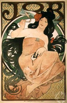 Alphonse Mucha, Papier a Cigarettes Job ad, 1898 by Gatochy, via Flickr