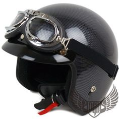 Carbon Fiber Vintage Style Chopper Old School DOT Motorcycle Helmet Custom ~ S on eBay!