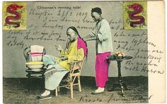 Chinaman's morning toilet. The postcard was posted from Shanghai to England in 1909.
