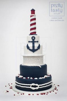 Navy and fuchsia lighthouse cake with shells and nautical elements. Perfect for a seaside wedding. Stylish and modern. Nautical Birthday Cakes, Nautical Wedding Cakes, Nautical Cake, Seaside Wedding, Nautical Theme, Lighthouse Cake, Lighthouse Wedding, Wedding Cakes With Cupcakes, Wedding Cake Toppers