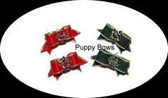 Puppy Bows ~ Dog show bow  pet hair MALTESE TINY pairs red or green rhinestone crown ~USA seller by DogBowBarrettes on Etsy