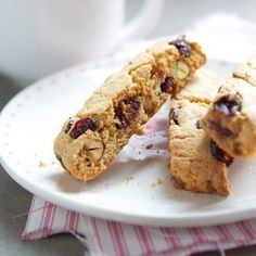Cranberry Pistachio biscotti...... May try with adding some cinnamon and brown sugar and raisins instead of cranberry and pistachio for something different.