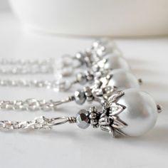 Bridesmaid Necklaces Bridesmaid Sets White Pearl Pendant Antiqued Silver Beaded Pendant Wedding Jewelry White Wedding Bridesmaid Jewelry. $14.00, via Etsy.