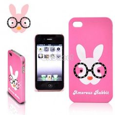 $4.70 New Lovely Cute Glasses Rabbit Plastic Hard Cover Case Skin Protector for Apple iPhone 4 4S Pink