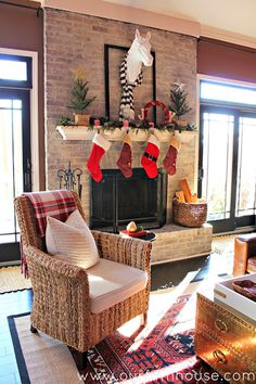 Love the whitewashed brick fireplace