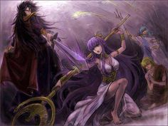 Athena, Shaka, Hades, Poseidon