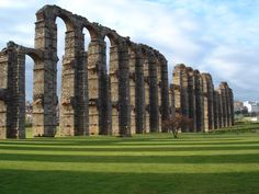 Mérida, Badajoz (WHC), the ruins of the Roman aqueduct.all gravity fed. Best Places In Portugal, Hotels Portugal, Places In Spain, Visit Portugal, Spain And Portugal, Places To See, Portugal Vacation, Portugal Travel, Spain Travel