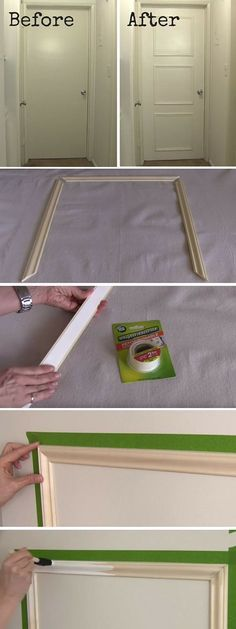 Check out the tutorial: 15 DIY Home Projects to make your home look classy. #DIY Decorative Door Trim #crafts #decor