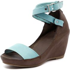 EOS Candios Dark Taupe/Light Blue (4.155 UYU) ❤ liked on Polyvore featuring shoes, platform wedge shoes, platform shoes, high heel shoes, flat platform shoes and hidden wedge shoes