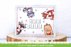 Lawn Fawn - Holiday Party Animal, Party Animal, Violet's ABCs, Stitched Rectangle Stackables _ card by Elena for Lawn Fawn Design Team