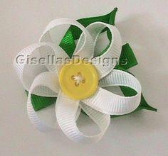 Daisy Flower Ribbon sculpture bow / ribbon by GisellasDesigns, $7.50